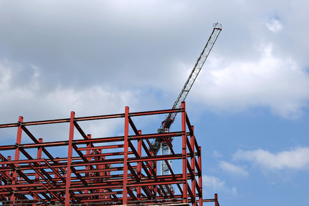 metalware: Construction of multistory building of metalwork with a construction crane