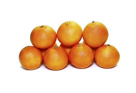 Orange mandarins isolated on white background