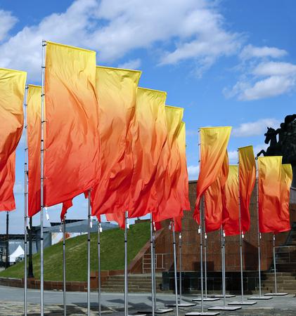 Beautiful festive flags against the sky Stok Fotoğraf