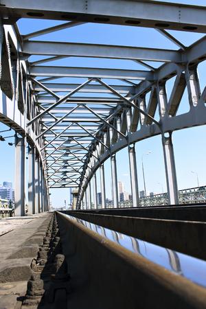 Steel railway bridge spans