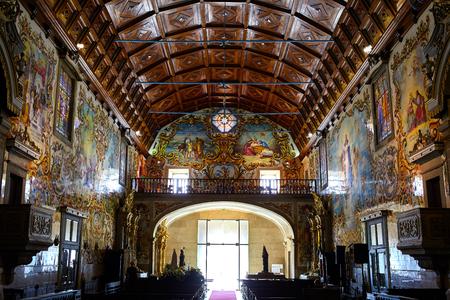 Amazing church with portuguese azulejo in Valega, Owar, Portugal Editorial