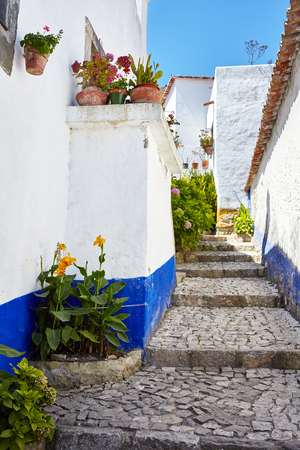 Streets of beautiful Obidos, Portugal