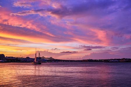 Amazing sunset in the port in Boston, Massachusetts, USA Stock Photo