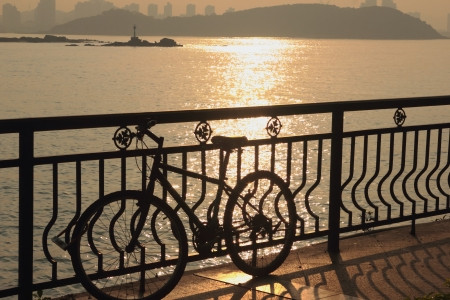 A bicycle in sunset