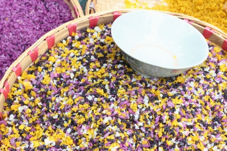 This is a photo of colorful rice,it was taken in guizhou province china this kind of rice made up by five kinds of rices which with different color   Stock Photo
