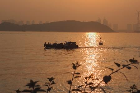 The sunset of xiamen gulang island,china
