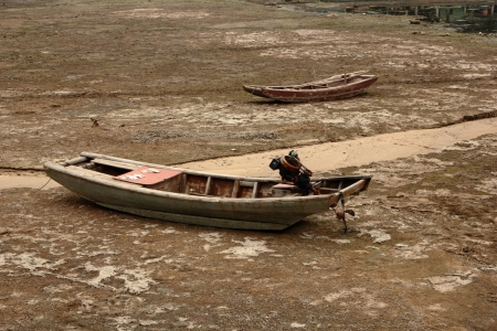 The boat on drouthy land