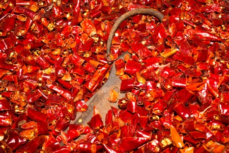 Dried Chilli and Iron Scissors Stock Photo