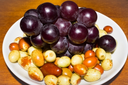 comestible: A Plate of Jujubes and Grapes