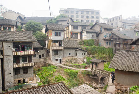 roofed house: The Old Buildings in South China  Stock Photo