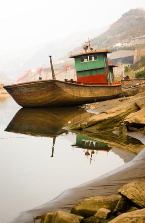 The Ship Stranding on Riverside 版權商用圖片
