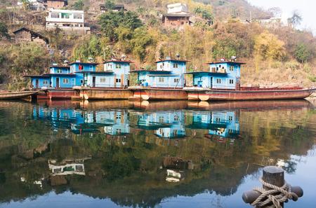A Village Pier of Chishui River 版權商用圖片