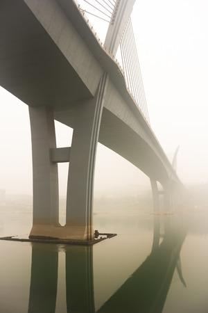 yangtze river: Yangtze River Bridge in Haze
