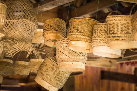 This is a photo of some chinese Dai peoples bamboo products, was taken in Yunnan, China. Stock Photo