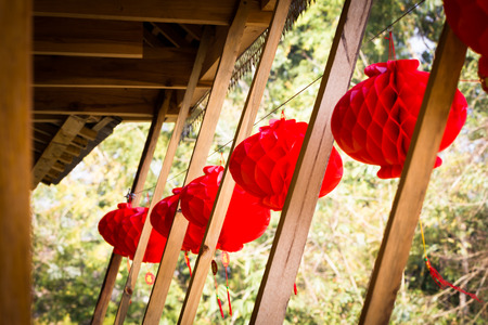 conspicuous: This is a picture of chinese red lantern, was taken in Yunnan, China.