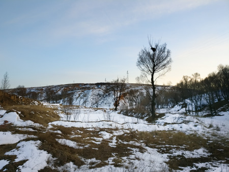 Landscape scenery view of a plateau during winter
