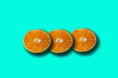 Oranges pattern on bright trendy color background