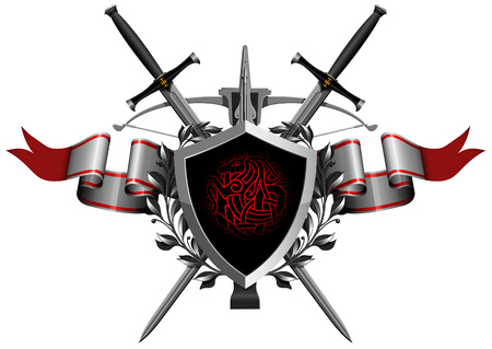 sword and shield: the coat of arms with ribbon Illustration