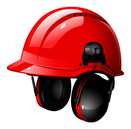 casco rojo: el casco rojo con auriculares