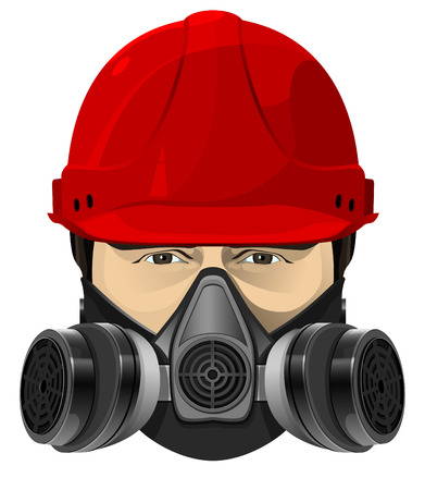 respirator: The man in the red helmet