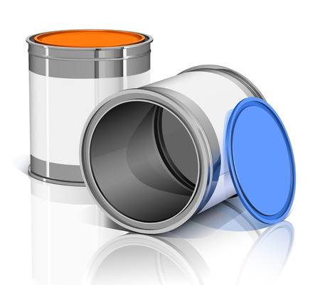lids: two metal cans with colored lids and  reflection Illustration