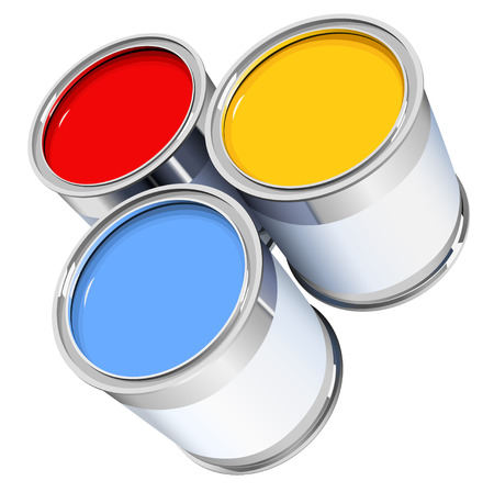 paint can: the three metal cans with colorful  paint