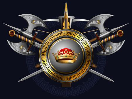 espadas medievales: escudo de armas medieval con hachas, espadas, escudo, la corona y la ballesta