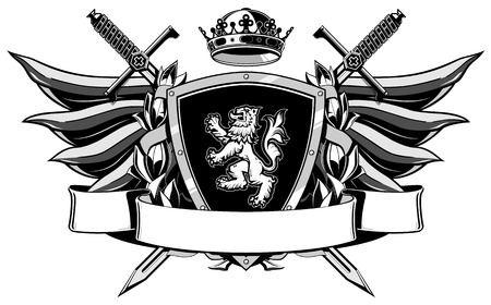 crown wings: coat of arms with wings, swords, shield, crown and ribbon Illustration