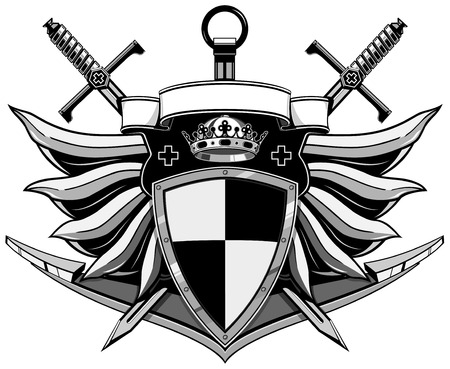 armory: coat of arms with wings, anchor, swords, shield, crown and ribbon