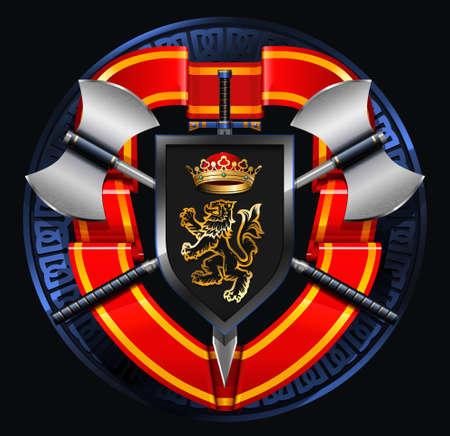 coat of arms: escudo de armas medieval con hachas, espadas, escudo, la corona y la cinta de color rojo brillante Vectores