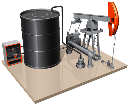 metal barrel: a pumpjack with metal barrel and different pipes