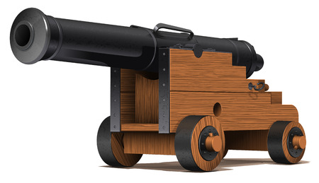 metal barrel: old ship cannon with wooden carriage and black metal barrel