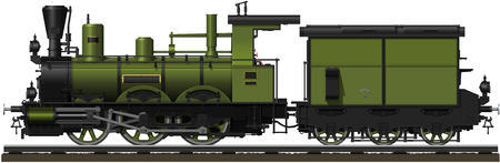 steam locomotive: The old green steam locomotive with tender