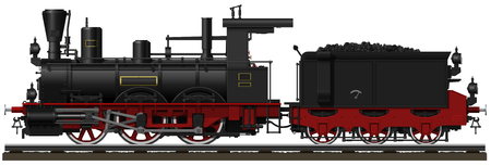 tender: The old black steam locomotive with tender