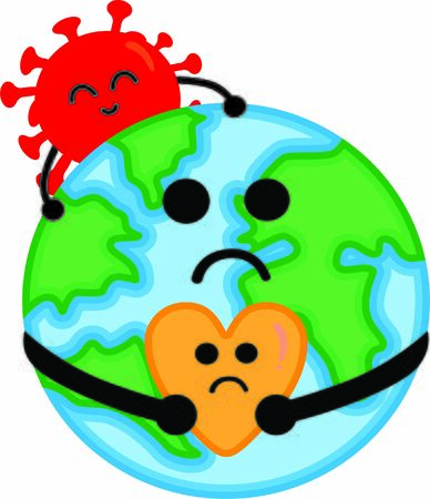 The Crying World. Illustration of earth and heart shape with sad emotions. The earths shoulder is affixed with a coronavirus with joyful emotions. 向量圖像