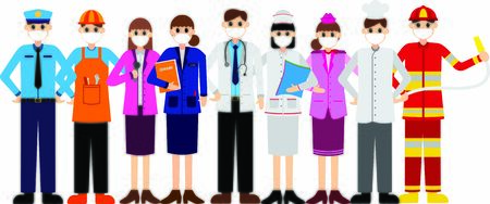 Various propesionals wearing protective Medical mask for prevent virus Covid-19. doctors, nurses, teachers, cooks, flight attendants, firefighters, police, presenters, and construction workers Stock Illustratie