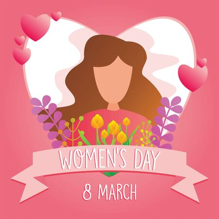 Happy International Women's Day on March 8th design background with Illustration of woman's. vector illustration