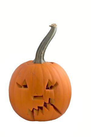 eng gesneden pompoen voor Halloween Stockfoto