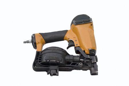 Roofing nail gun on white background Stock Photo