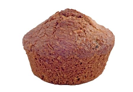 bran muffin isolated on white showing alot of detail
