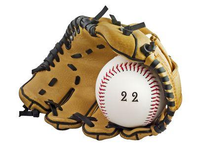 野球のグローブとボール キャッチ 22 を描いたに書かれた 22 でボール