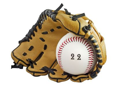 baseball glove and ball with 22 written on ball depicting a catch 22 Stock Photo