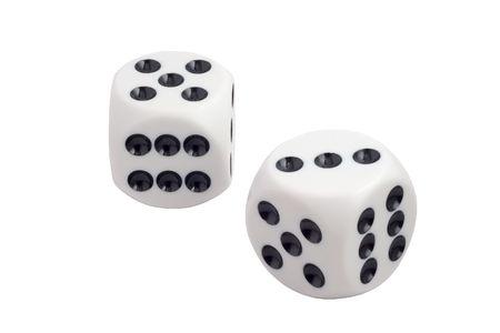 White dice isolated on white  Banco de Imagens