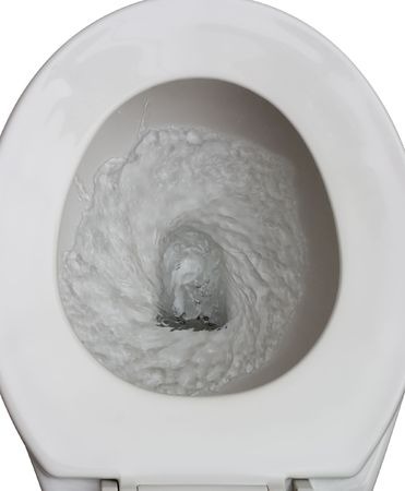 toilet bowl: toilet being flushed