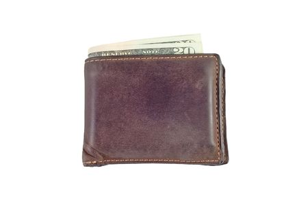 brown wallet with US dollars Banco de Imagens