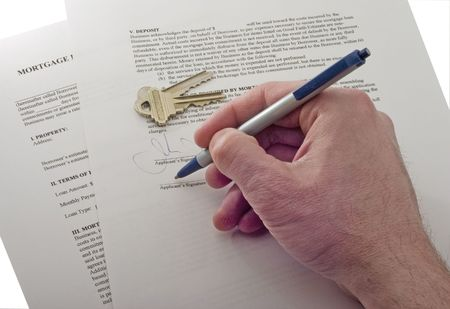 signing mortgage contract isolated on white Stock Photo