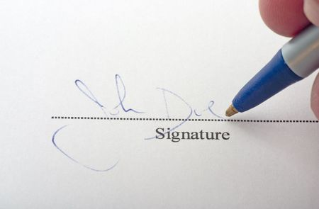 signing on dotted line with pen (John Doe)