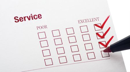 survey for service rendered with excellent checkbox marked Stock Photo