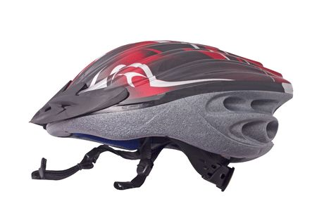 red and black bicycle helmet isolated on white background Stock Photo