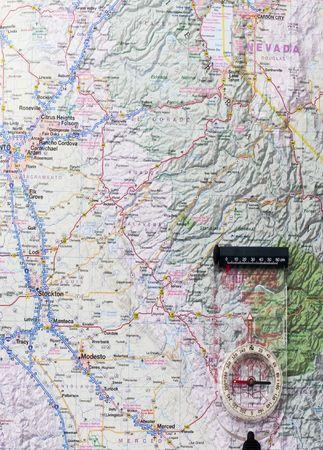 Karte von Kalifornien mit Kompass in der unteren rechten Ecke Standard-Bild - 2005772